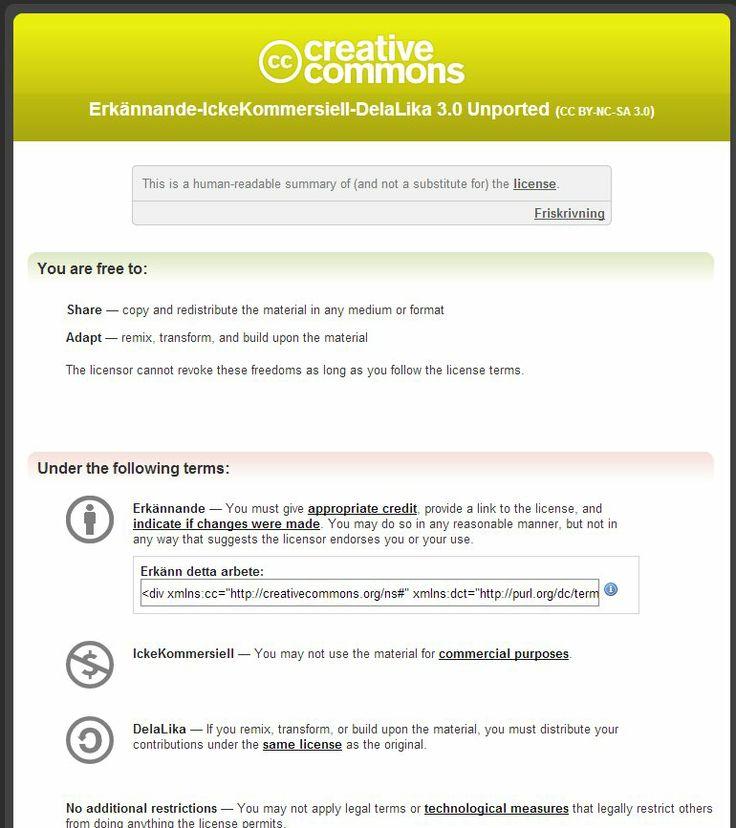 Creative Commons; CC - BY-NC-SA: http://creativecommons.org/licenses/by-nc-sa/3.0/deed.sv . ________________________________  Se även den licens  som inte har med     no commercial (NC): http://creativecommons.org/licenses/by-sa/2.5/se/ . Illustrationen är gjord av Martin Ander CC (by). ________________________ Erkännande - dela lika: http://creativecommons.org/licenses/by-sa/4.0/deed.sv .