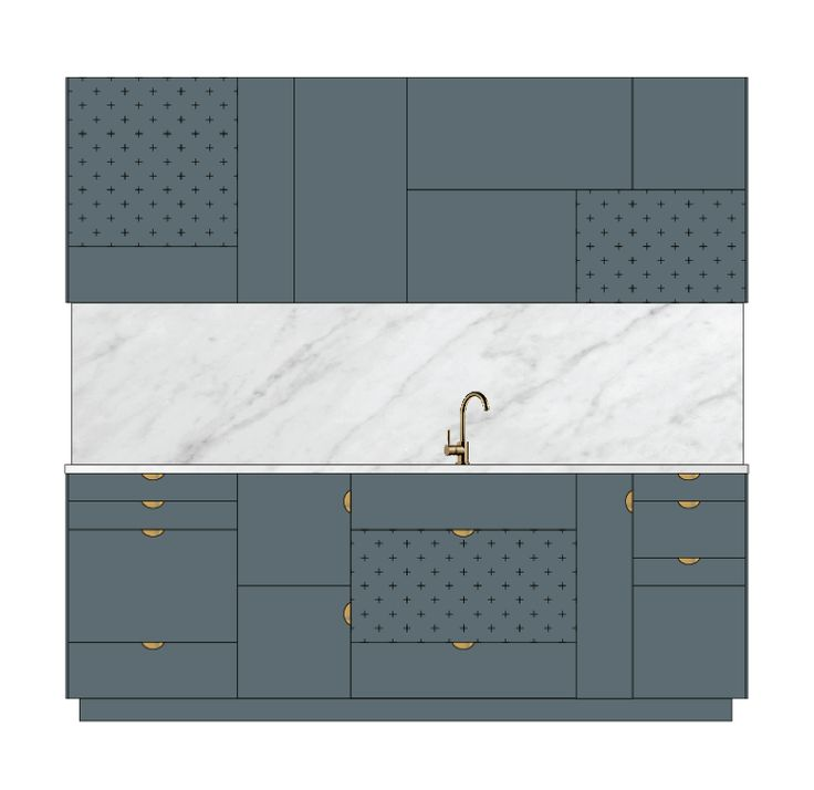 "In this sketch you se fronts in ""Thundergrey"", both with and without pattern. The pattern is called ""Plus"" and the handles are ""Wholy wafers"" in brass. The top and the wall is Carrara marble and the kitchen faucet is from Tapwell."