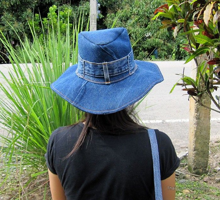 Recycled Denim Crafts | ... Craft Warehouse - Large Denim Cowboy Hat Stitched from Recycled Jeans