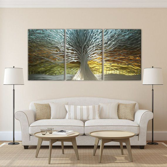 Tree Metal Wall Art Farmhouse Wall Decor Metal Wall Etsy In 2020 Modern Wall Decor Wall Art Living Room Contemporary Wall Decor