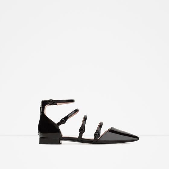ZARA - WOMAN - FLAT SHOES WITH ANKLE STRAP