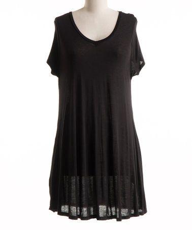 Another great find on #zulily! Black V-Neck Shift Dress - Plus #zulilyfinds