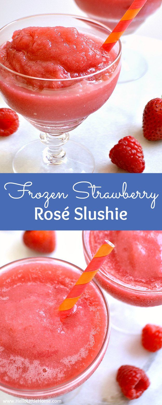 Frosé aka Frozen Strawberry Rosé Slushie ... the perfect summer cocktail recipe! Learn how to make this easy wine slushie recipe from your fave rosé wine, strawberries, and raspberries! This simple homemade frosé recipe comes together quickly in your ice cream maker or freezer. A delicious wine slush that's great for girl's night, birthdays, summer parties, or just because! | Hello Little Home