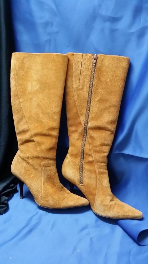 GLAMOUR PUSS TAN SUEDE BOOTS SIZE 37 **CHARITY AUCTION**
