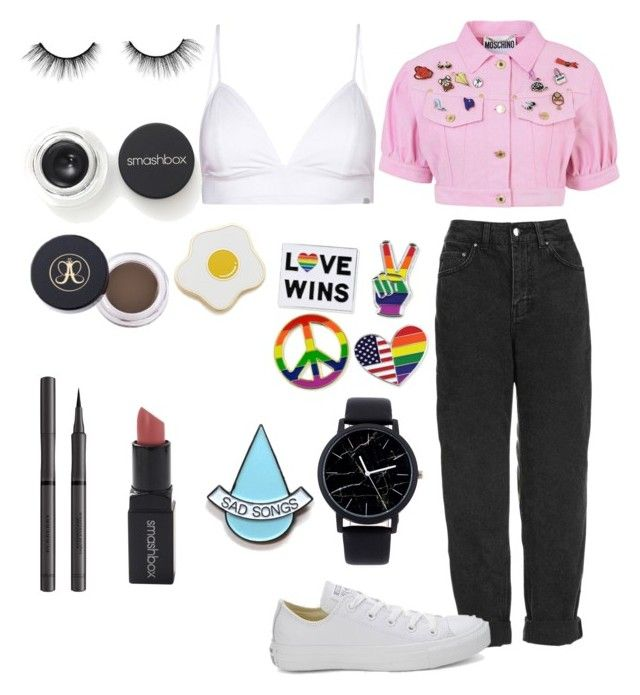 """I collect pins"" by danielle-bell-i on Polyvore featuring Moschino, Topshop, Vyayama, Converse, Stay Home Club, Georgia Perry, tarte, Smashbox and Burberry"