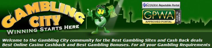 Join Gambling City today!!! For the Best Gambling Sites and Cash Back deals Best Online Casino Cashback and Best Gambling Bonuses. For all your Gambling Requirements - http://www.gamblingcity.com/?AD=DeePinterest #gambling I #offers I #online I #bonuses I #casinos I #information I #deals I #cashback I #poker I #blackjack I #baccarat I #lottery I #horse I #racing I #NFL I #football
