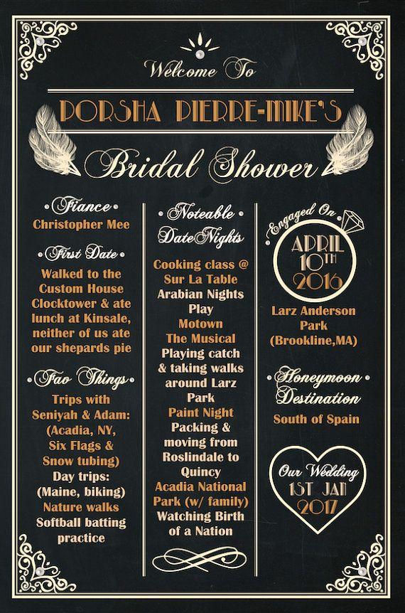 Bridal Shower GATSBY THEME Chalkboard Poster by AmyGemptonDesign