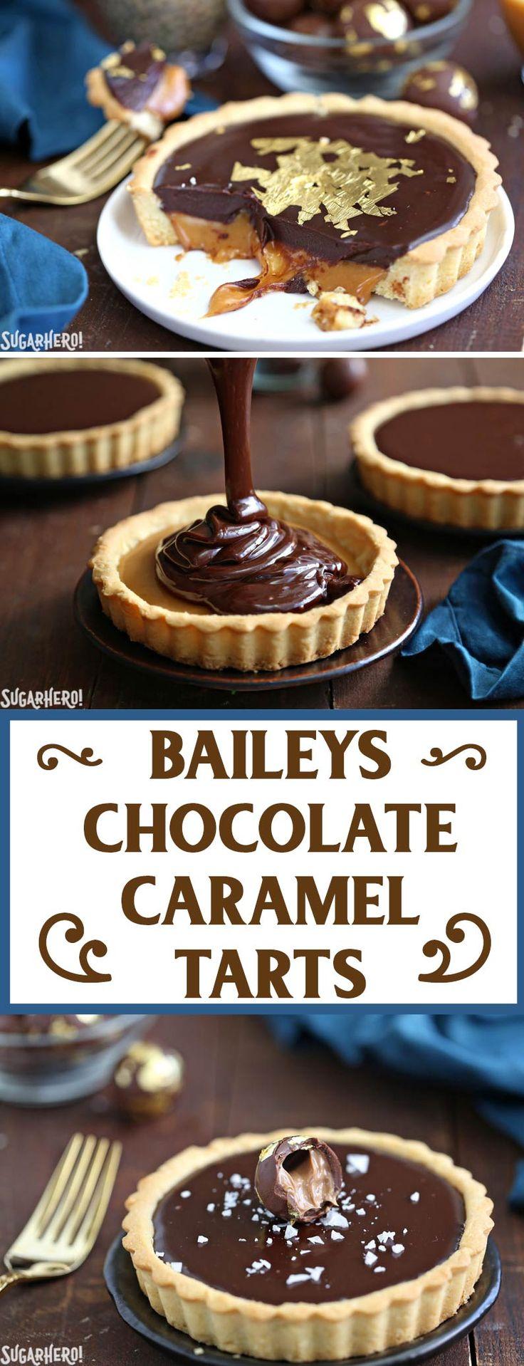 Baileys Chocolate Caramel Tarts - gorgeous mini tarts with a Baileys salted caramel filling and Baileys chocolate ganache! | From SugarHero.com