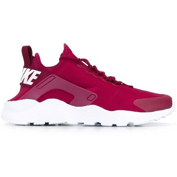 Nike Air Huarache Run Ultra Sneakers ($132) ❤ liked on Polyvore featuring shoes, sneakers, red, red trainers, rubber sole shoes, lace up shoes, nike and round cap