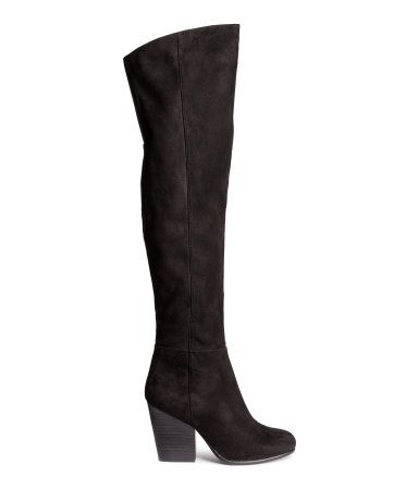 Knee-high boots in imitation suede. Half-zip at side, elastication at top, and rubber soles. Heel height approx. 3 3/4 in.
