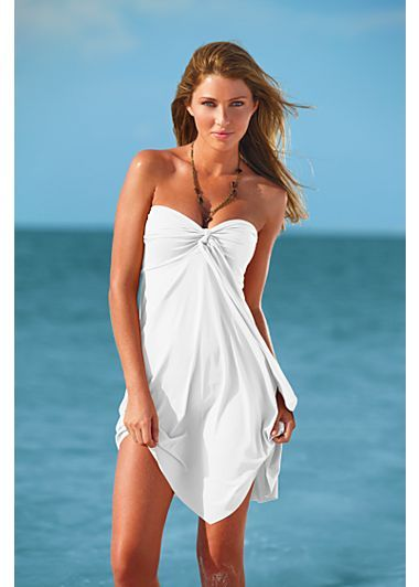 Love the versatility of this.  You can wear it as a strapless dress, halter dress and skirt.