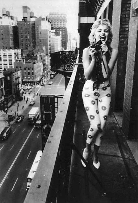 Norma Jean on the Balcony of the Chelsea Hotel in NYC