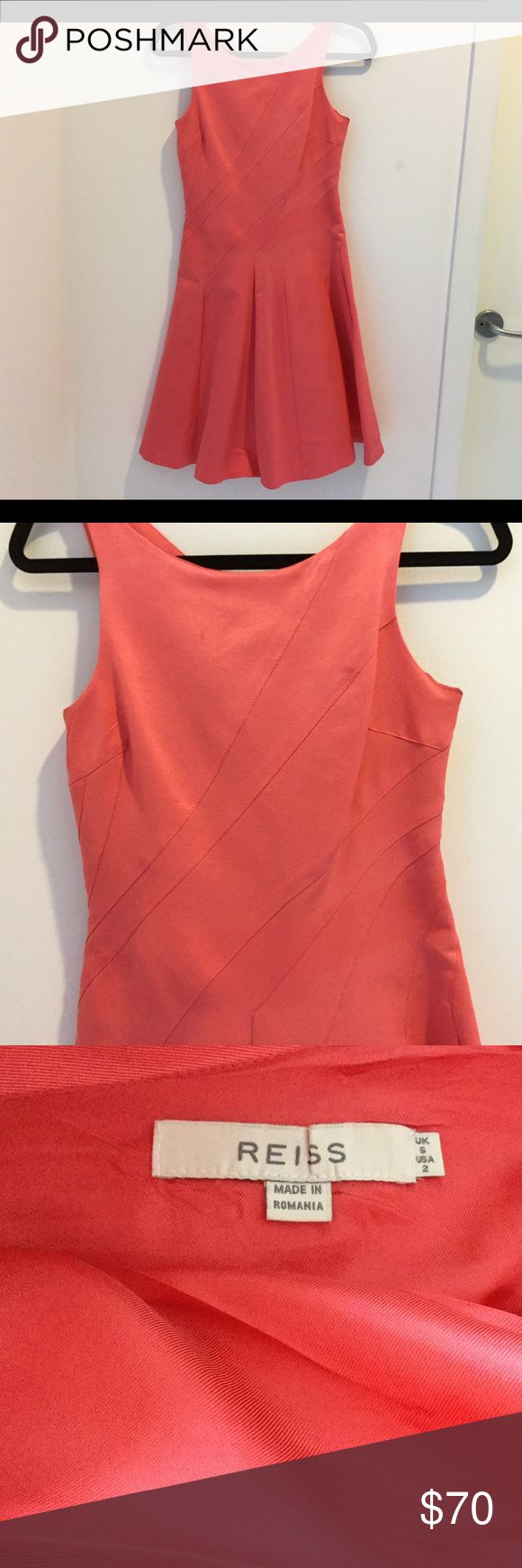 Coral flared dress by Reiss. Feminine and sexy. Turn heads in this beautiful designer number! Excellent preloved condition. flared skirt Reiss Dresses