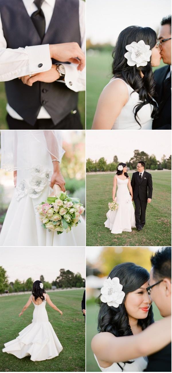 reception hair: remove veil, add flower, add brighter lip color