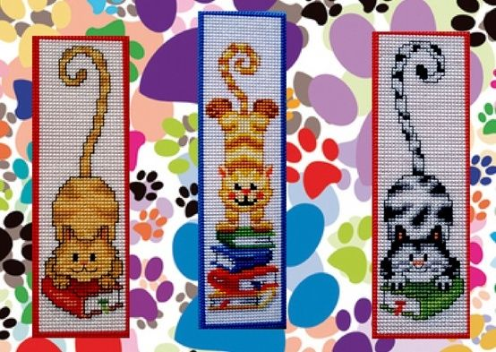 Plastic Canvas Bookmark Patterns | Bookmarks reading cats embroidered on plastic canvas. by patrice