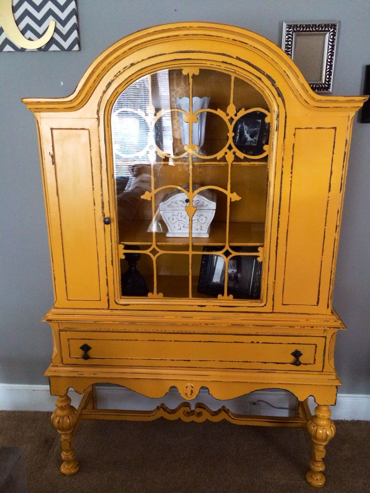 Beautiful Hand Painted Distressed Marigold Yellow Mustard