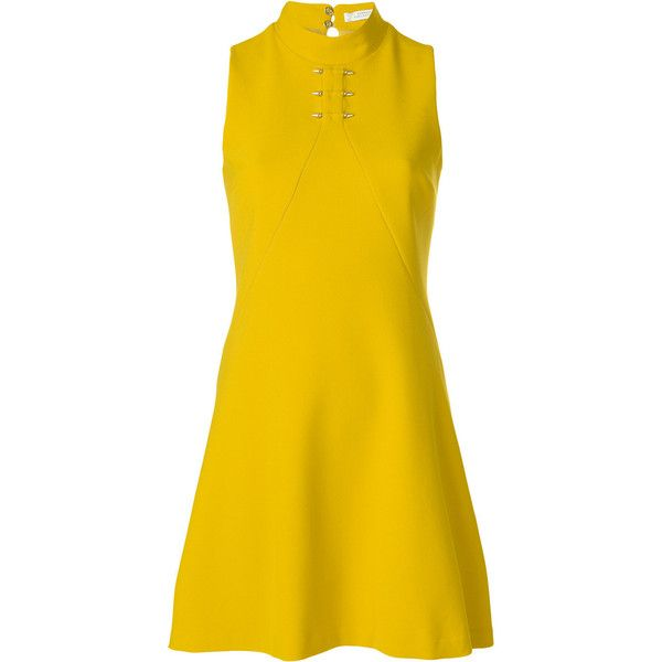 Versace Collection piercing detail mini dress (834 CAD) ❤ liked on Polyvore featuring dresses, yellow, yellow dresses, versace, yellow mini dress, versace dress and mini dress