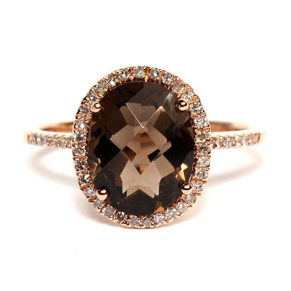 Beautiful rose gold smoky quartz and diamond ring. Hudson-Poole fine jewelers