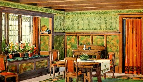 Wallpaper for the 1900 House: The prime desire is to select a wallpaper that shall be in harmony with the main purpose for which the room itself is destined. You would not, for instance, think of mounting the same style of wallpaper on dining, living and bedroom walls alike.