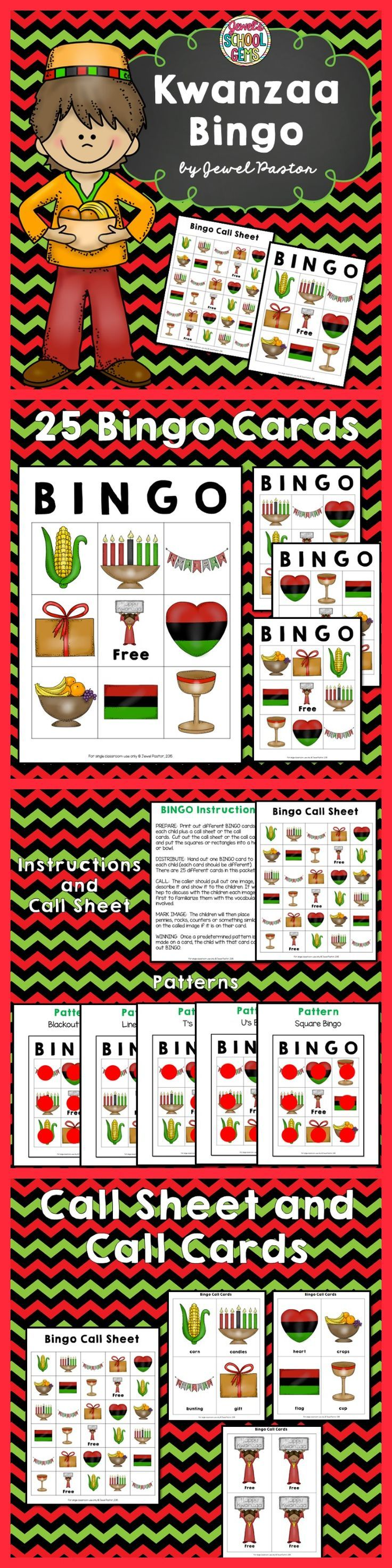Kwanzaa Bingo Packet - In search of fun Kwanzaa activities? Engage your students this Kwanzaa Holiday with this fun Kwanzaa Bingo! This packet contains instructions, patterns, bingo cards, a call sheet and call cards. See the Preview to have an idea of what is inside this Kwanzaa packet.