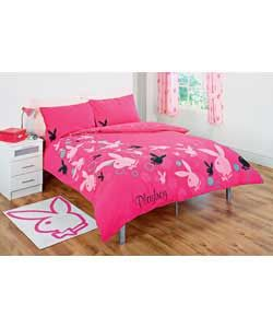 Playboy Trailing Bunny Double Duvet Cover Set - Pink