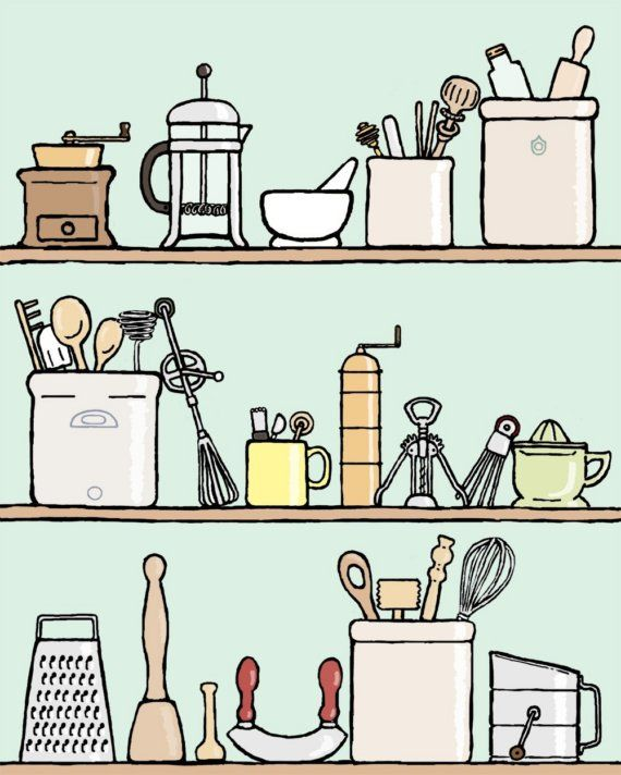 kitchen art print 11x14 spot the spurtle by doodleandhoob on Etsy, $28.00