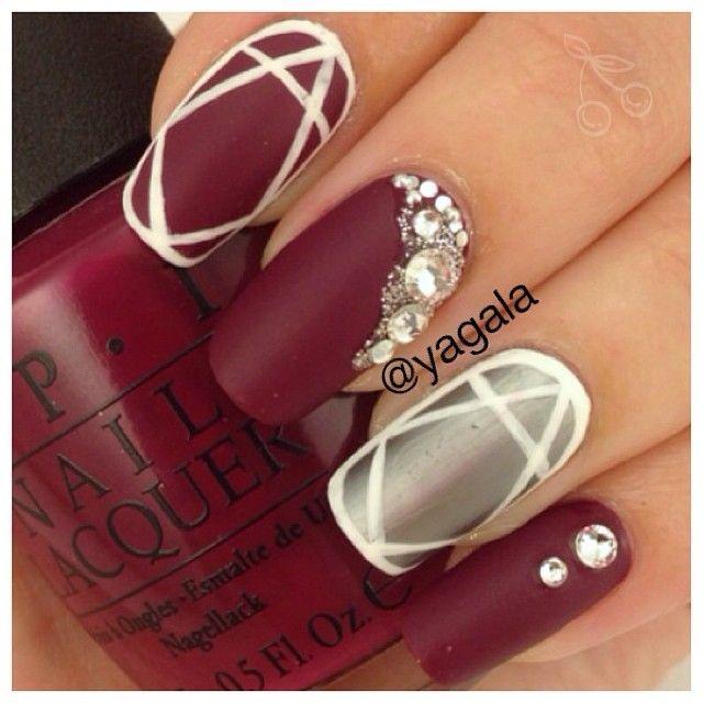 yagala #nail #nails #nailart matte red, silver and white with gemstones.  Pretty!