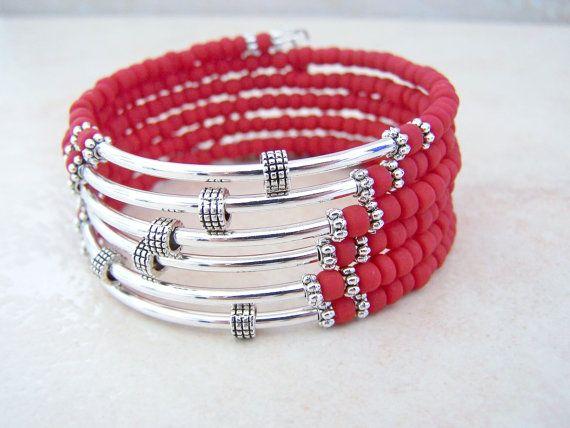 Red Wrap Bracelet, Beaded, Memory Wire Bracelet, Coil Bracelet, Bohemian Style Cuff, Stack Bracelet, by Feralspassage