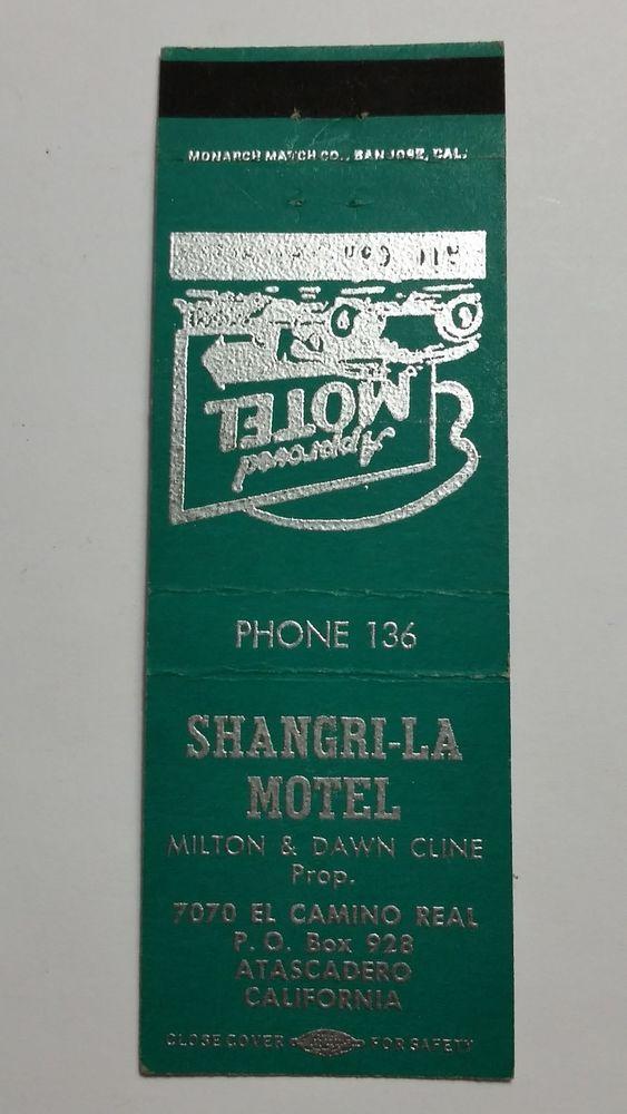 SHANGRI-LA MOTEL ATASCADERO CALIFORNIA PHONE 136 Matchbook Matchcover