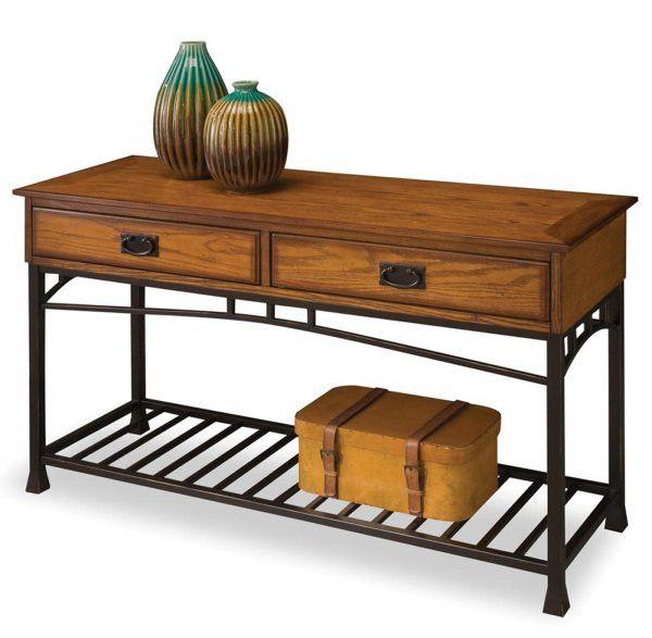 """Modern Craftsman Sofa Table (Oak / Brown) (28""""H x 47.25""""W x 16""""D)"""