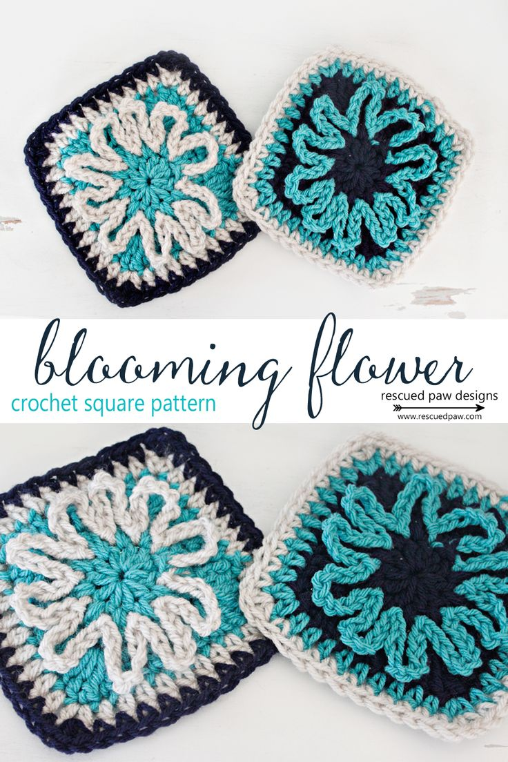52 best crochet squares images on pinterest crochet granny blooming flower crochet square pattern bankloansurffo Image collections
