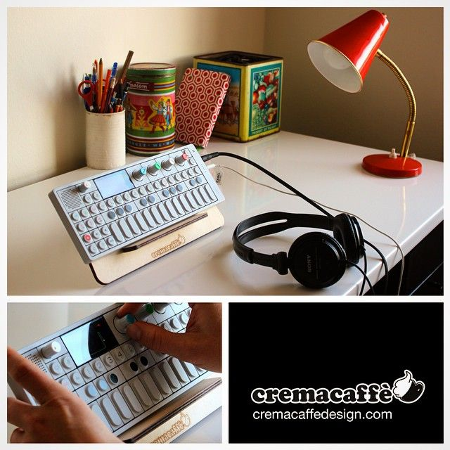 OP-Bunny tabletop stand for the OP-1 synth. Photos by Anni Sams. #op1 #synth #design #stand #teenageengineering #musicGear #cremacaffedesign • http://cremacaffedesign.com/op-bunny/