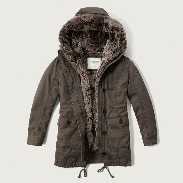 Abercrombie & Fitch Faux Fur Lined Twill Parka ($200) ❤ liked on Polyvore featuring outerwear, coats, brown, brown coat, twill parka, faux fur lined coat, lightweight parka and fleece lined parka