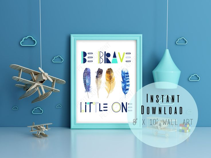 "Excited to share the latest addition to my #etsy shop: 8"" x 10"" Be Brave Little One Boys Nursery Wall Art Printable - Kids Room Decor - Bohemian Feather - Typography Wall Art - INSTANT DOWNLOAD http://etsy.me/2DqWB5n #housewares #homedecor #blue #brown #nursery"