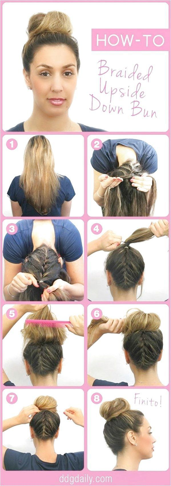 Beauty How-To Upside Down Braided Bun  If you know how to French braid your hai …   – Braid Recipes