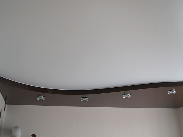 Двухуровневый натяжной потолок. Производство: Германия. #потолок #натяжной #дизайн #матовый