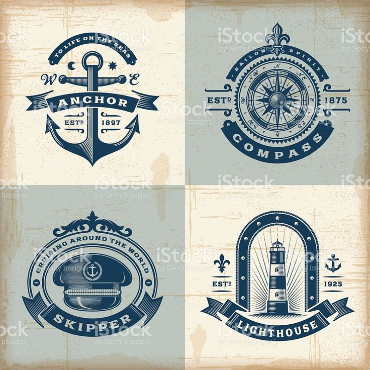 Set of vintage nautical labels royalty-free stock vector art