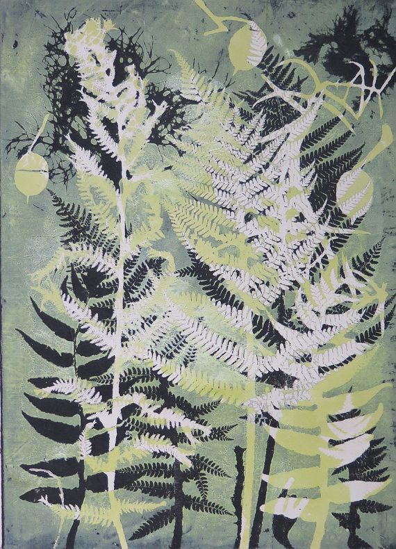 Original botanical mono print Stef Mitchell dusky yellow vibrant green Ferns & flora print influenced by William Morris and Art Nouveau