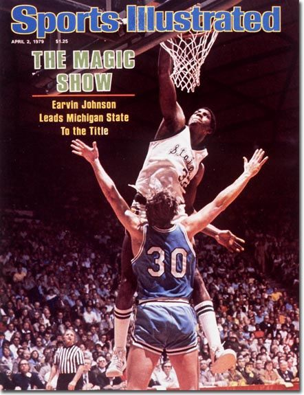 April 3, 1979 - . . .and here is Magic Johnson again, is the last college basketball cover of the season, as he leads Michigan State to the NCAA Championship.