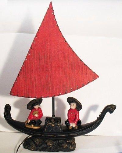 Vintage Chalkware Chinese Boat  Lamp with Original Sail Shade 1955