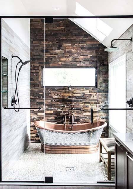 dual shower copper tub stone tile glass doors love