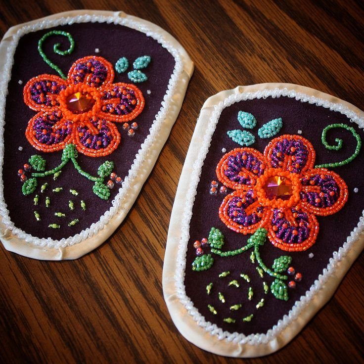Iroquois Raised Beaded Moccasin Vamps from Akwesasne by Vanna White