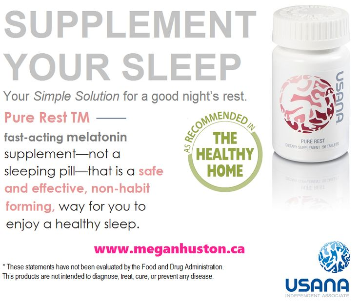 Along with diet and exercise, getting enough sleep is an important part of a healthy lifestyle. Are you ready to restore your natural sleep cycles without sleeping pills? Normal sleep cycles help you feel more energized, promote healthy immune function, and support antioxidant defence. Pure Rest is USANA's fast-acting, ultra-pure melatonin supplement that is both safe and effective.
