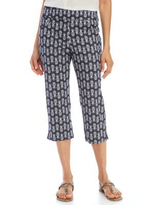 Ruby Rd Women's Petite Pineapple Printed Denim Capri - True Navy Multi - 12P Short