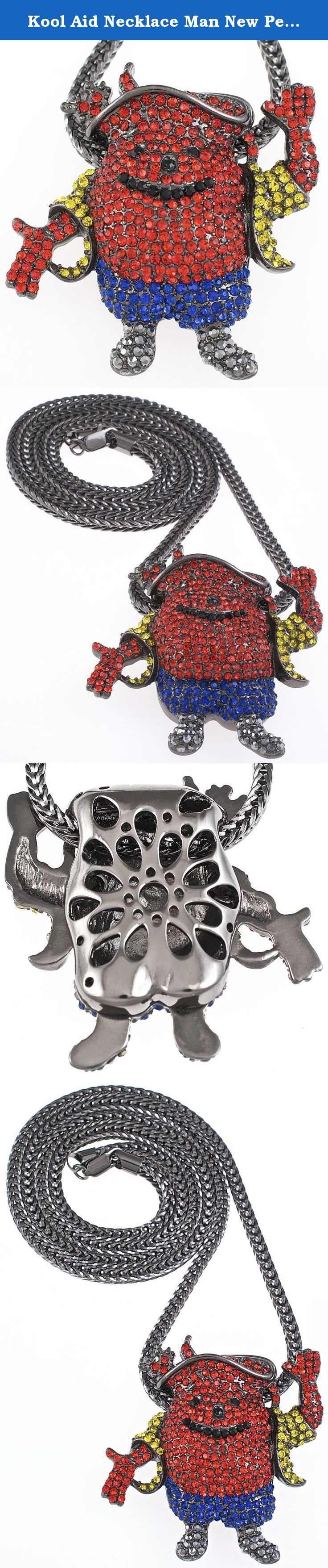 Kool Aid Necklace Man New Pendant With Gun Metal Color 36 Inch Franco Style Chain. Iced Out Pendant Necklace Piece. Iced out in gold, blue, black, red, and silver color crystal rhinestones. Gun metal color Franco style 36 inch, 4mm chain with lobster claw clasp. Well crafted pendant measures 2.5 inches by 2.5 inches. Your satisfaction is guaranteed.