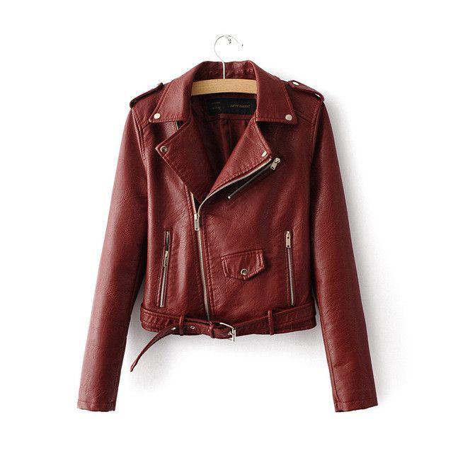 2016 New Autumn Women PU Leather Jackets Lady Slim Fit Motorcycle Zipper Black Coat Drop Shipping Hot Sale