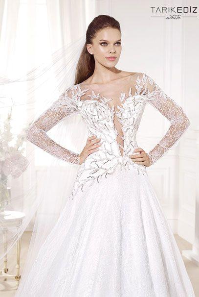 Tarik Ediz свадебные платья с отделкой кружевом