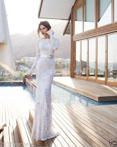 Long Sleeve Lace Boat Neck Mermaid White/Ivory Wedding Dress Bridal Gown Custom   Clothing, Shoes & Accessories, Wedding & Formal Occasion, Wedding Dresses   eBay!