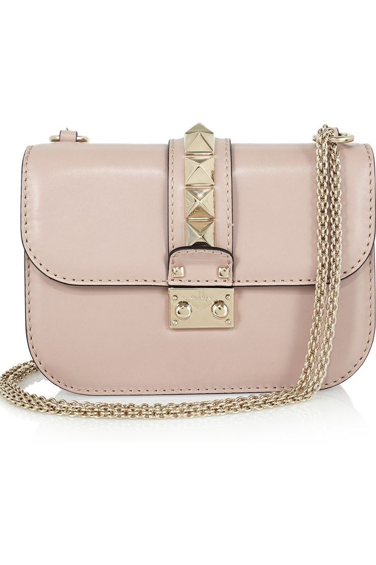 ValentinoValentino Bags, Blushes Pink, Handbags, Style, Soft Pink, Ankle Boots, Studs Embellishments Leather, Pale Pink, Leather Shoulder Bags