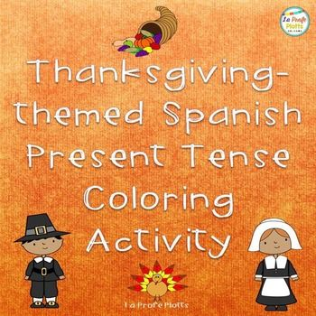 Practice identifying verb endings in the present tense with these fun Thanksgiving coloring sheets! Similar to a color-by-number sheet, students will color the pictures according to the key given. Each subject is assigned a different color (i.e. all the present tense verbs in the yo form are colored anaranjado, all the verbs in the nosotros form are colored rojo, etc.).